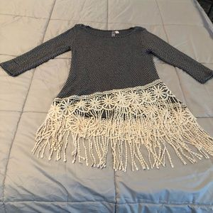 Tops - Unique boutique top with great fringe size S
